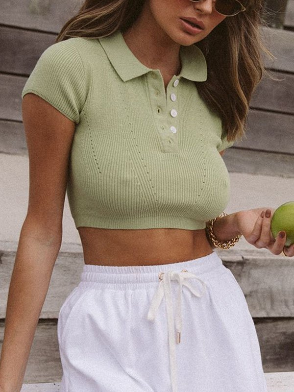 Polo Neck Knitted Crop Top - Green M