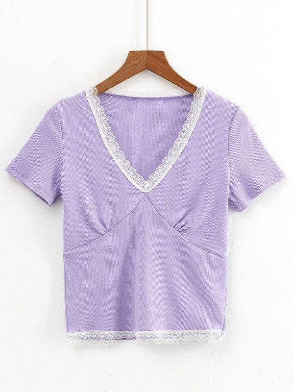 Lace Trim Short Sleeve Crop Top - Purple M