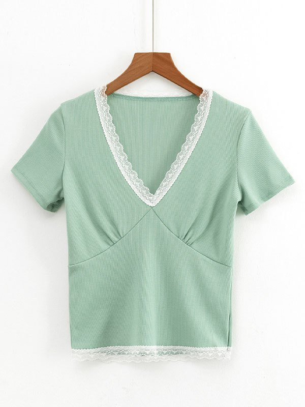 Lace Trim Short Sleeve Crop Top - Green M