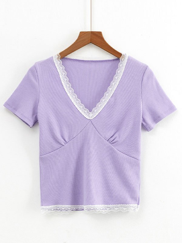 Lace Trim Short Sleeve Crop Top - Purple S