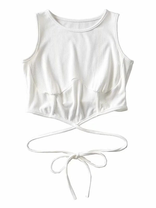 Lace Up Crop Tank Top - White M
