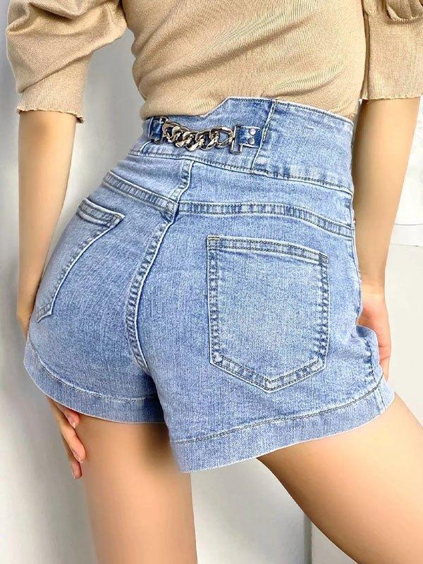 Buttoned Stretch Slim Denim Shorts - Blue L