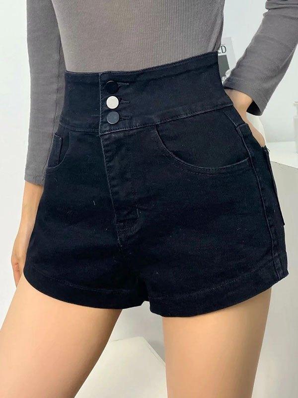 Buttoned Stretch Slim Denim Shorts - Black S