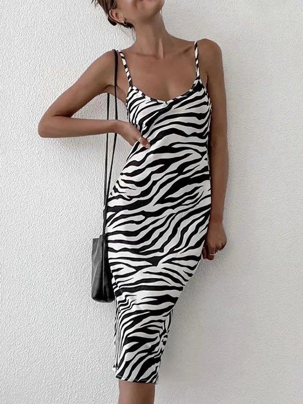 Zebra Stripe Sling Midi Dress - White L