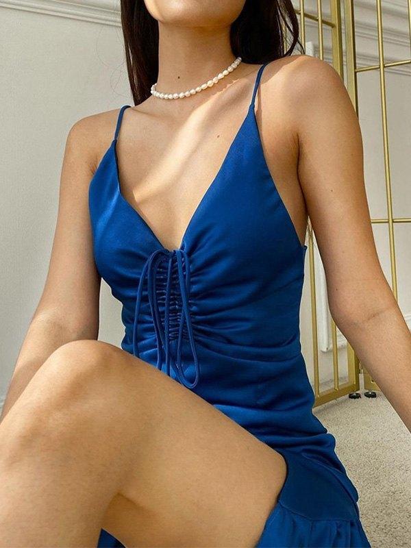 Satin Drawstring Slip Midi Dress - Blue L
