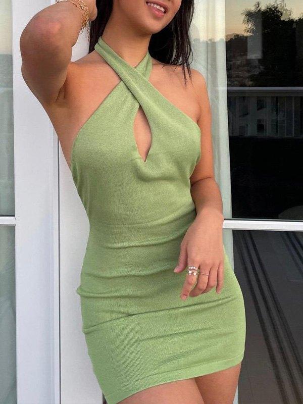 Cross Over Halter Mini Dress - Green L