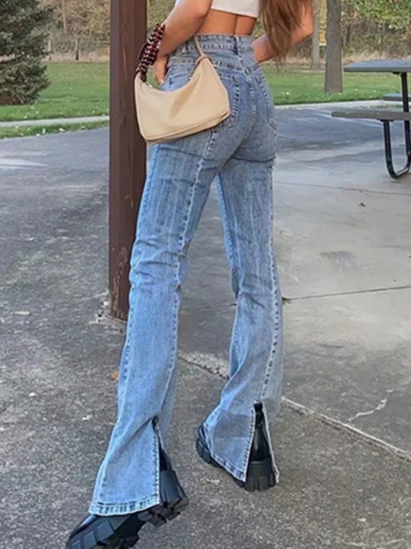 Washed Split Leg Jeans - Blue L