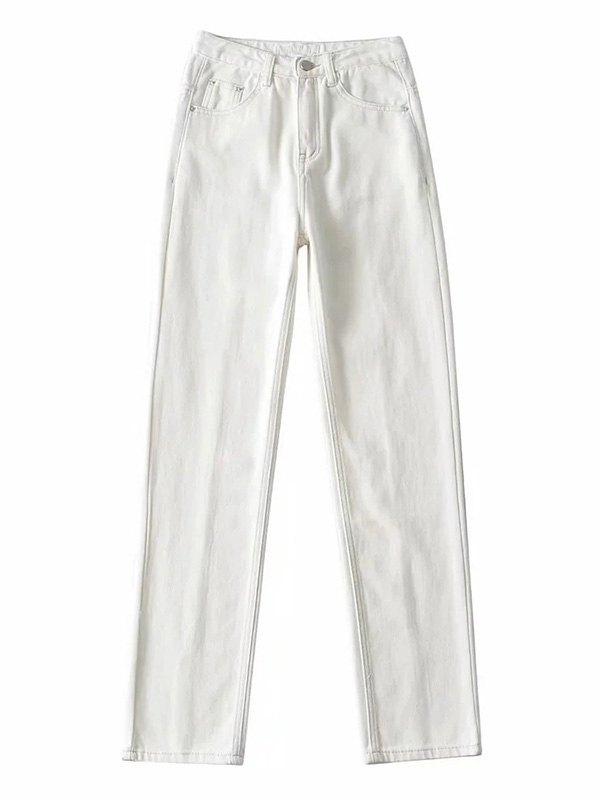 Washed Split Leg Jeans - White L