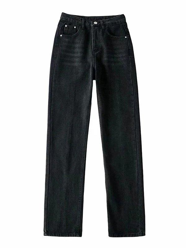 Washed Split Leg Jeans - Black XS