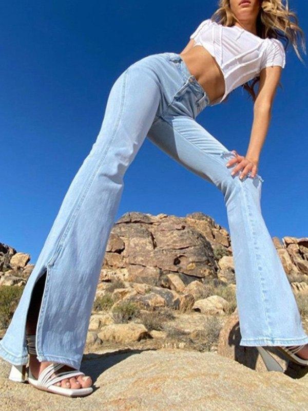 Distressed Split Flare Jeans - Blue L