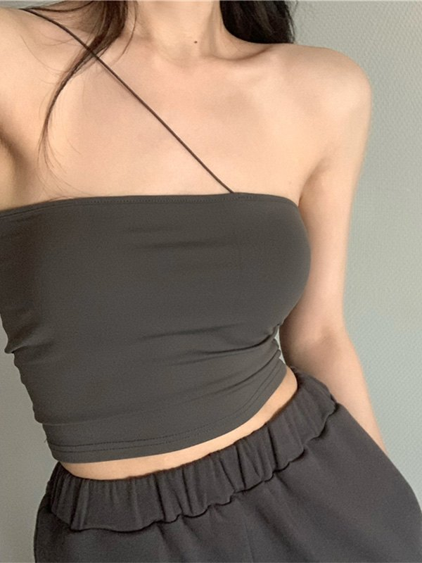 Slant Shoulder Bandeau Crop Cami Top - Gray ONE SIZE
