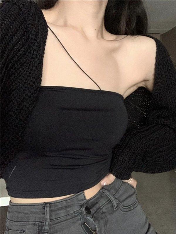 Slant Shoulder Bandeau Crop Cami Top - Black ONE SIZE