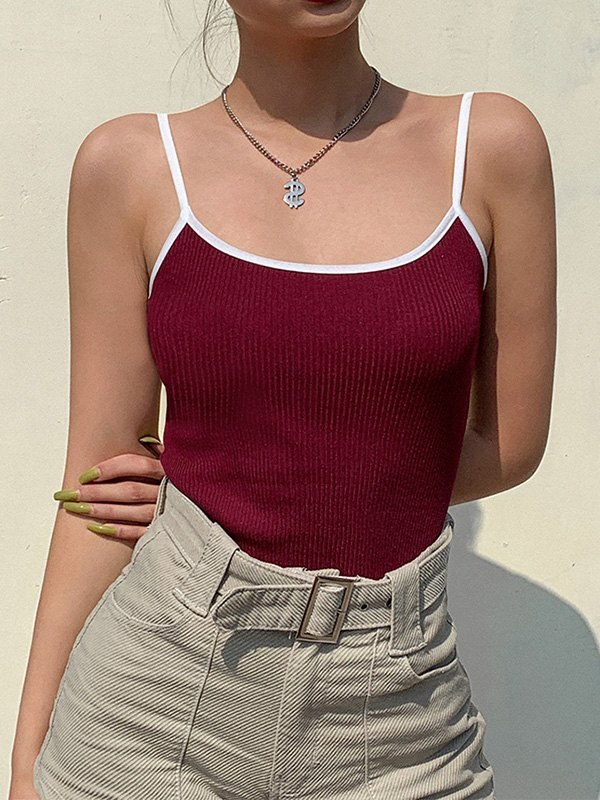 Vintage Contrast Crop Cami Top - Red ONE SIZE