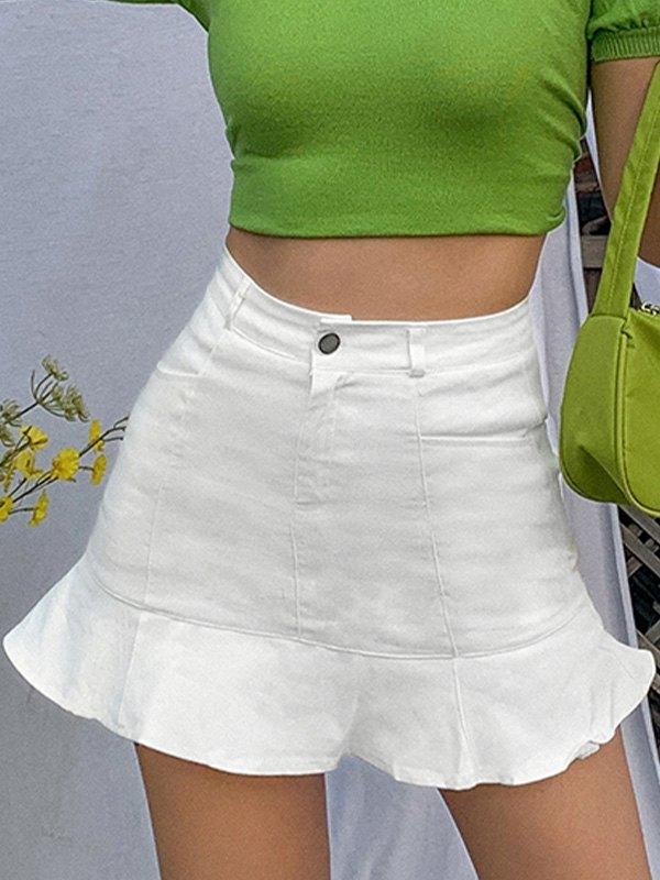 Ruffle High Rise Mini Skirt - White L