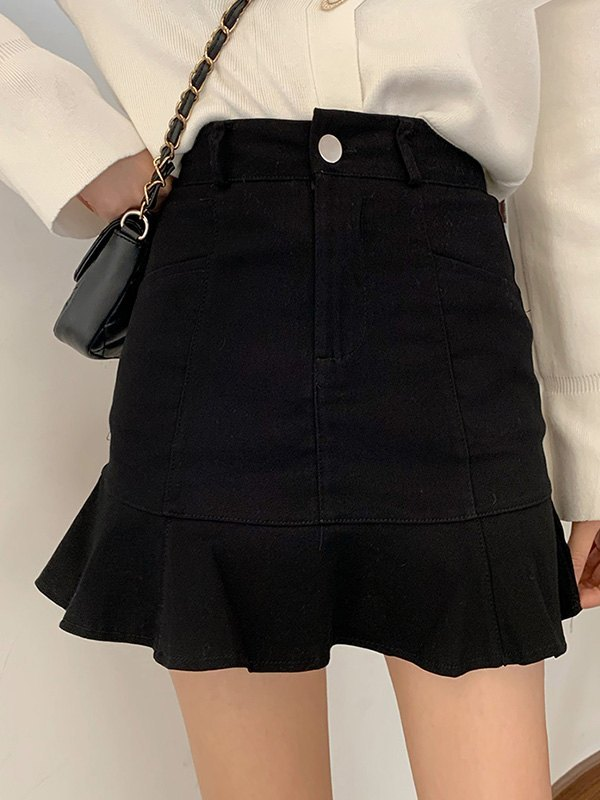 Ruffle High Rise Mini Skirt - Black L