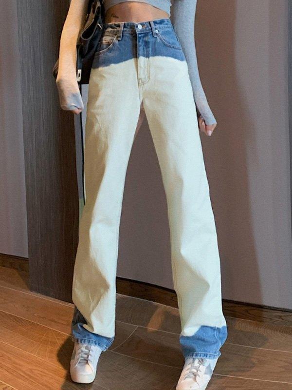 Color Block Boyfriend Jeans - As The Picture S
