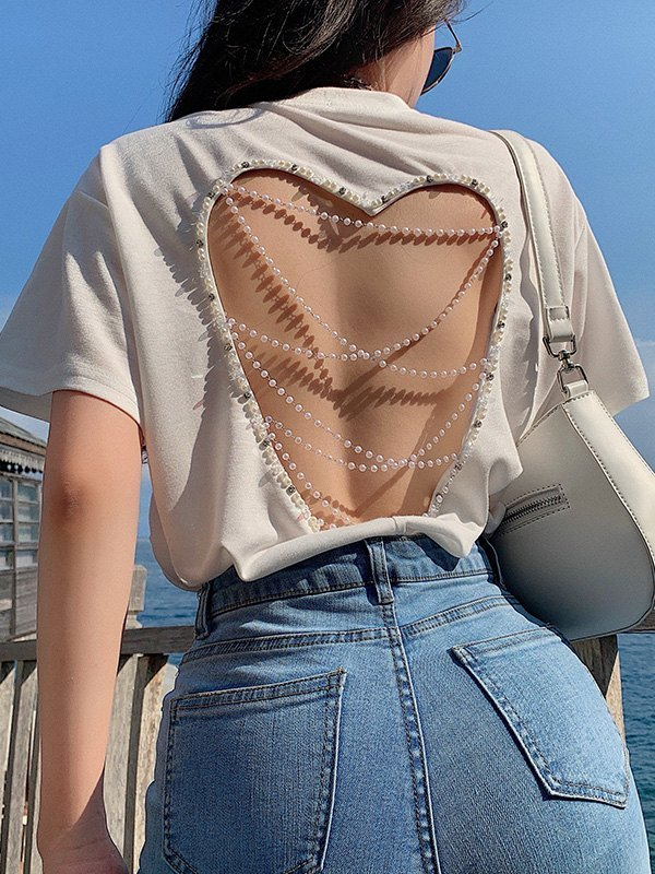 Open Back Heart Short Sleeve Tee - White ONE SIZE