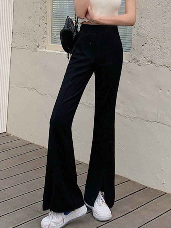 Draped Split Flare Leg Pants - Black ONE SIZE