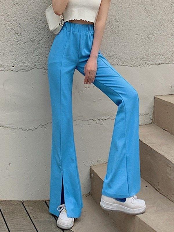 Draped Split Flare Leg Pants - Blue ONE SIZE