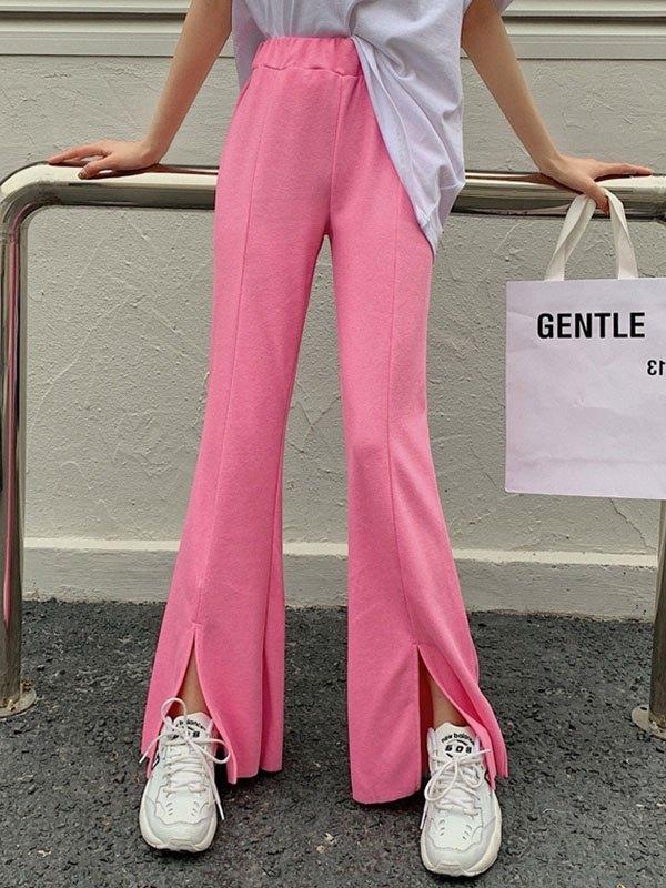 Draped Split Flare Leg Pants - Pink ONE SIZE