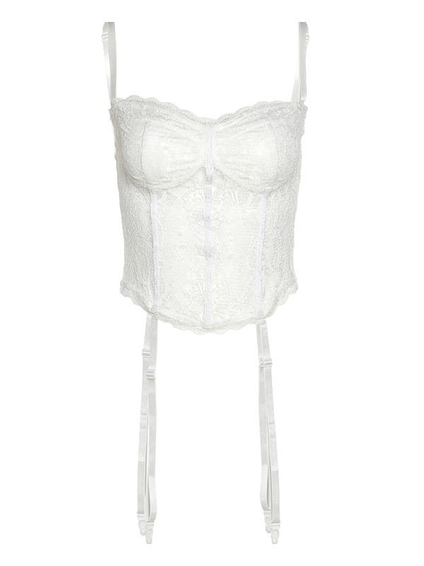 Lace Paneled Crop Cami Top - White L