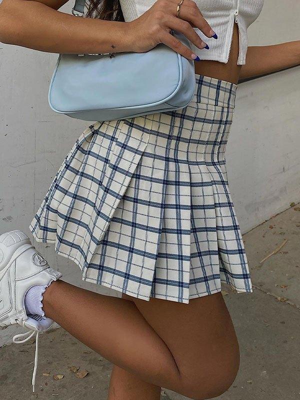 Preppy Style Check Pleated Mini Skirt - Blue L
