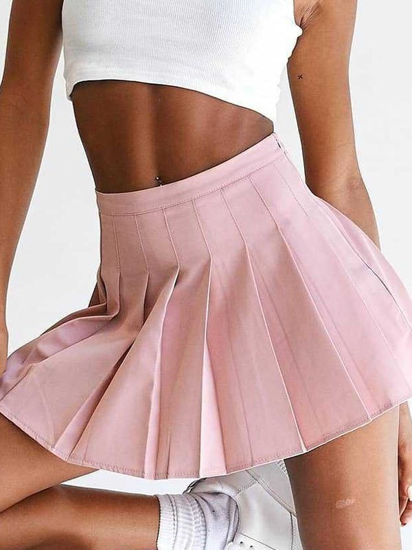 Pleated Tennis Mini Skirt - Pink L