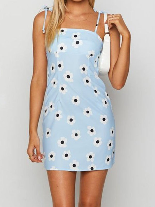 Flower Bodycon Cami Mini Dress - Blue L