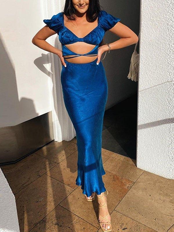 Cutout Short Sleeve Maxi Dress - Blue L
