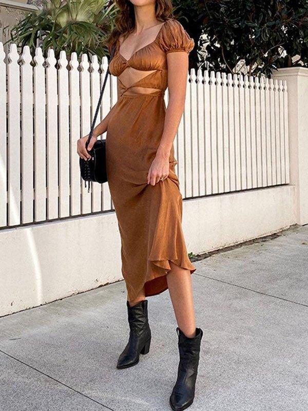 Cutout Short Sleeve Maxi Dress - Brown S