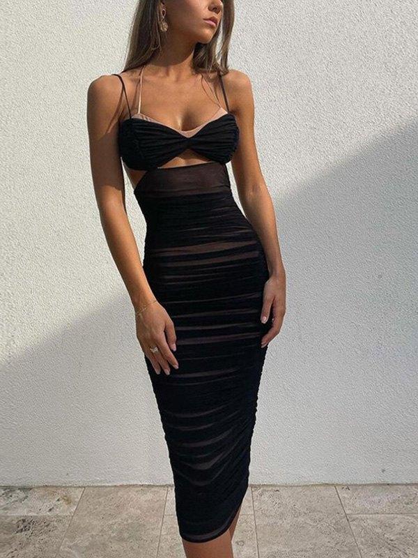 Ruched Halter Bodycon Midi Dress - Black S