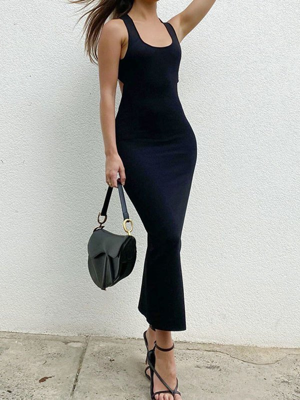 Cross Back Split Bodycon Maxi Dress - Black M