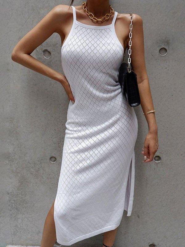 Woolen Split Cami Midi Dress - White ONE SIZE