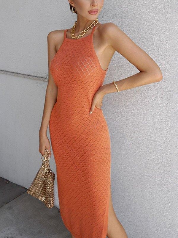 Woolen Split Cami Midi Dress - Orange ONE SIZE