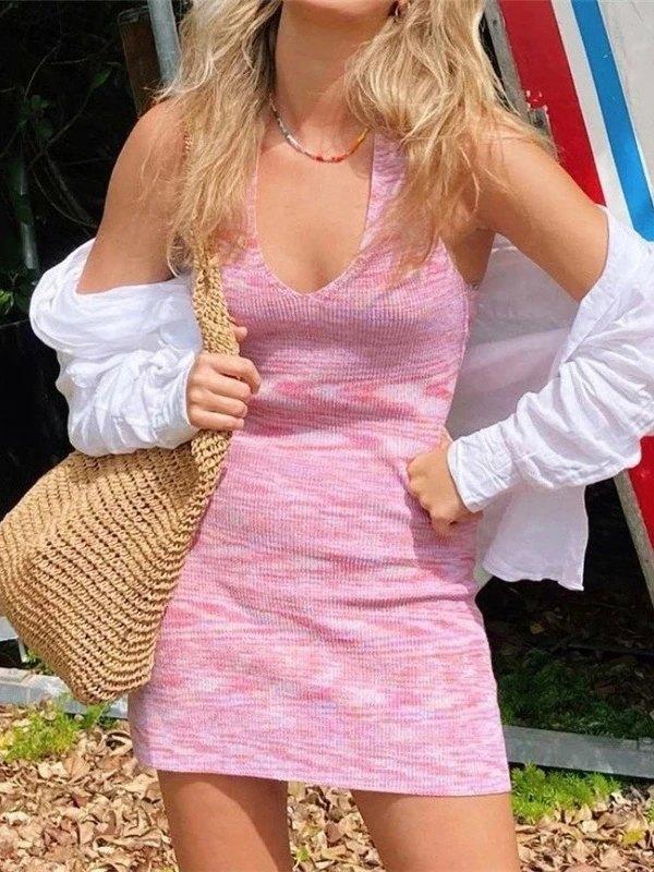 Halter Bodycon Mini Dress - Pink L