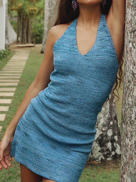 Halter Bodycon Mini Dress - Blue L