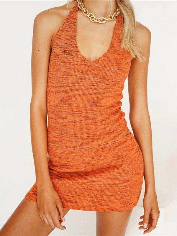 Halter Bodycon Mini Dress - Orange L