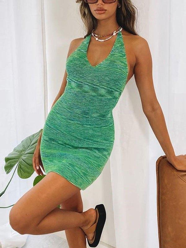 Halter Bodycon Mini Dress - Green S