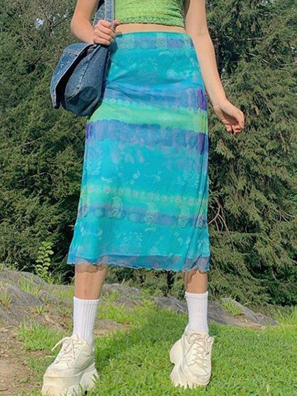 Mesh Paneled Printed Midi Skirt - Blue S