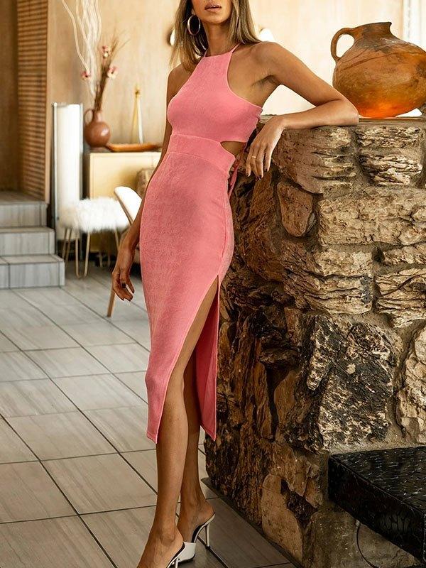 Cutout Split Maxi Dress - Pink S