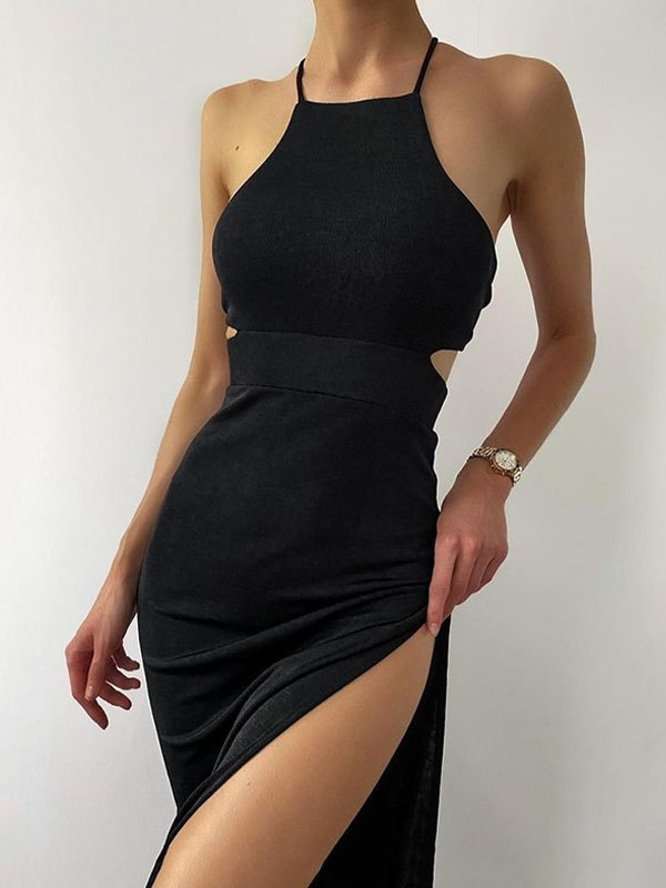 Cutout Split Maxi Dress - Black S