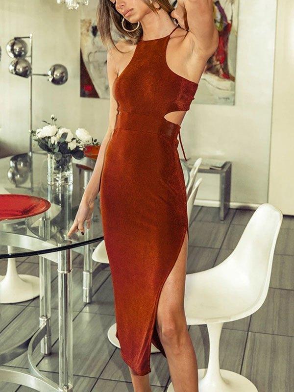 Cutout Split Maxi Dress - Brown L