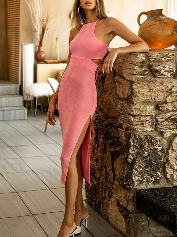 Cutout Split Maxi Dress - Pink L