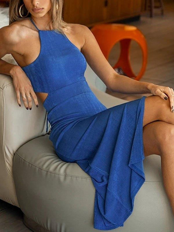 Cutout Split Maxi Dress - Blue S
