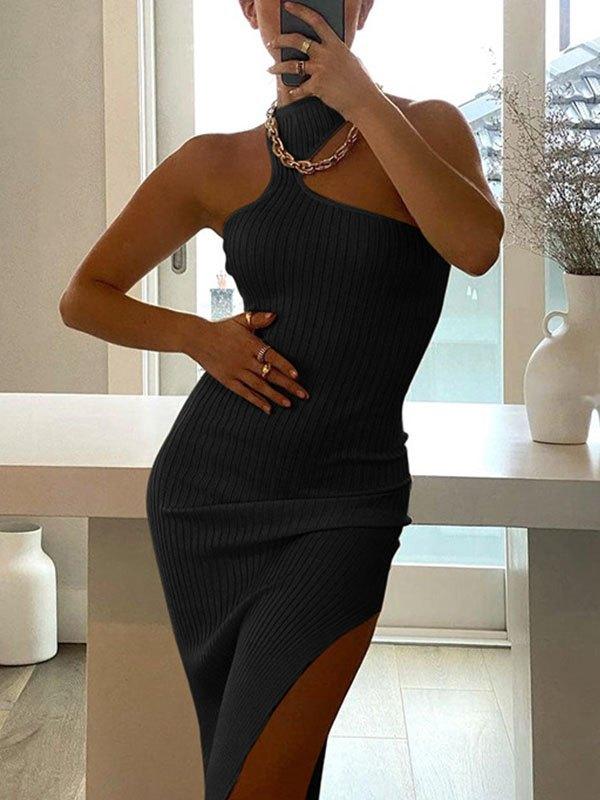 Irregular Rib Halter Split Midi Dress - Black M