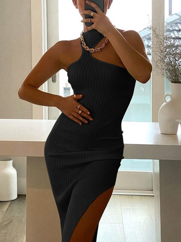 Irregular Rib Halter Split Midi Dress - Black L
