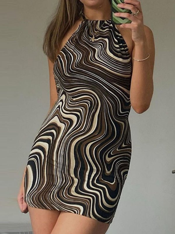 Swirl Halter Bodycon Mini Dress - Brown S