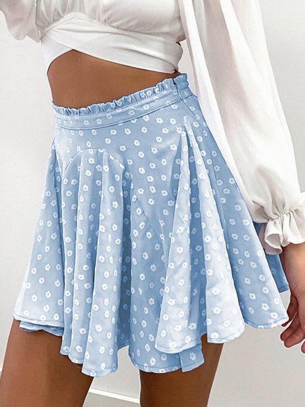 Daisy Print Skate Mini Skirt - Blue S