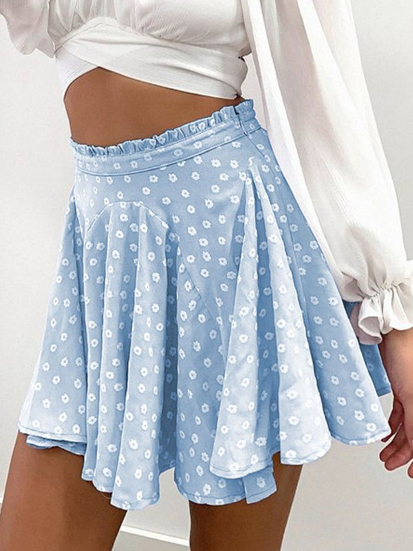 Daisy Print Skate Mini Skirt - Blue L