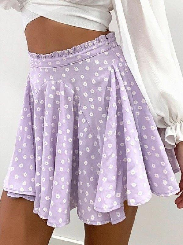 Daisy Print Skate Mini Skirt - Lavender S